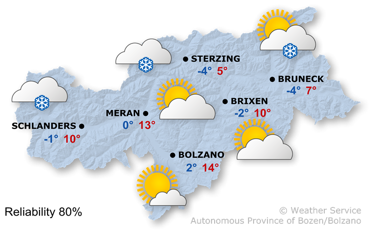 Forecast for today, wednesday 19/02/2020