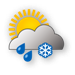 Nuvoloso, piogga e neve