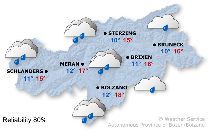Forecast for today, tuesday 11/05/2021